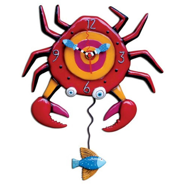 Red crab shaped wall clock with blue tropical fish pendulum.