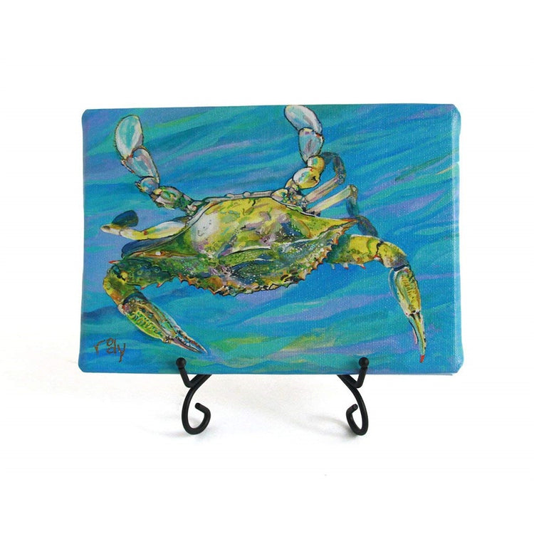 Stretched canvas print crab swimming down. Background swirled shades of blue. Crab mixed blues, greens & black.