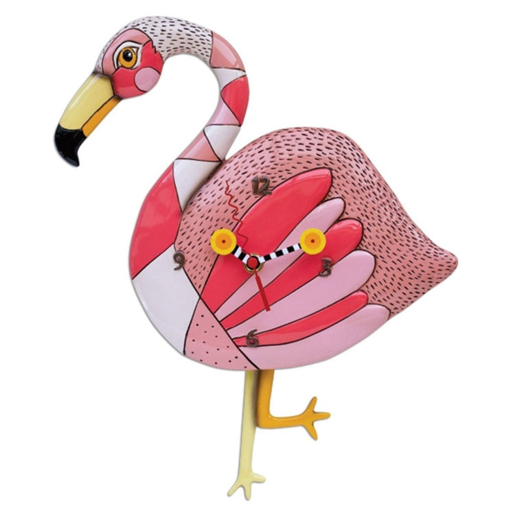 Flamingo shaped wall clock. Shades of pink with legs as pendulum, one knew bent.