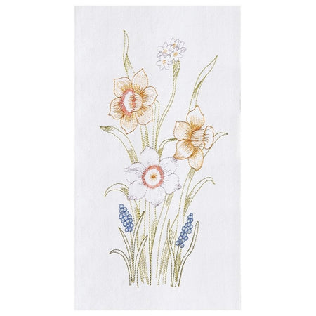 Daffodils Embroidered Flour Sack Dishtowel