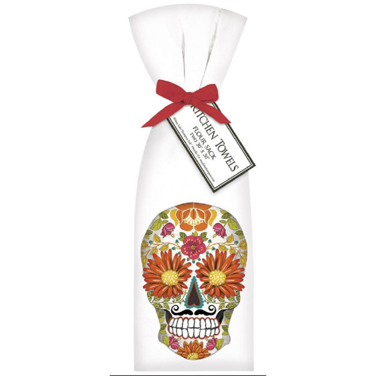 Mary Lake Thompson 2 Ribbon Tied Sugar Skull Daisies Flour Sack Towels T1734 30 Inches Square