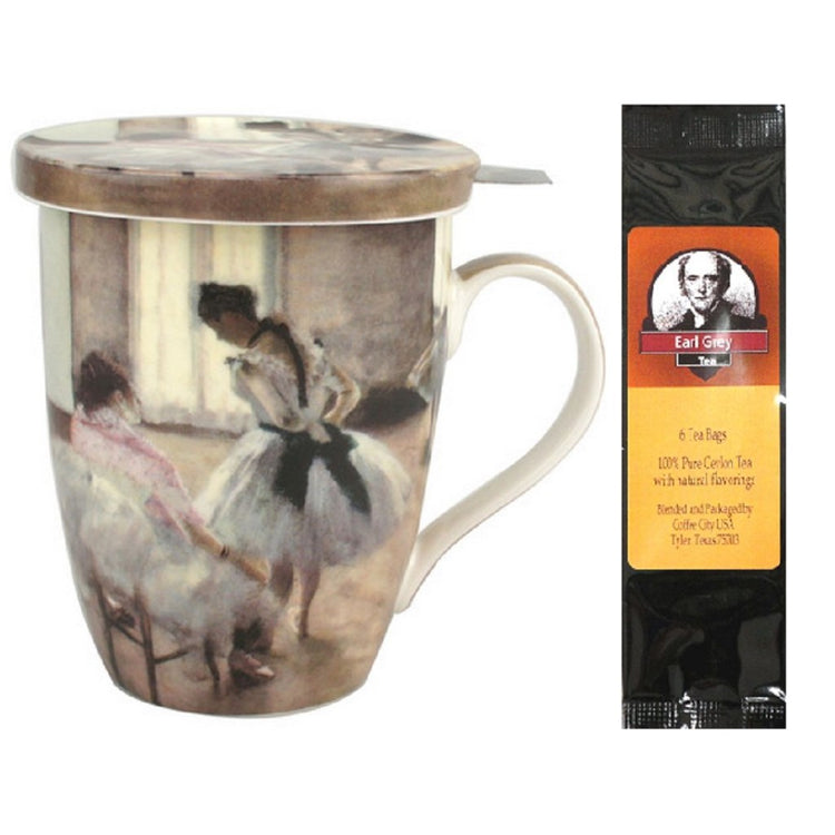Teacup with lid and infuser.  Degas Dance Lesson print all around.  Package of Earl Grey tea.