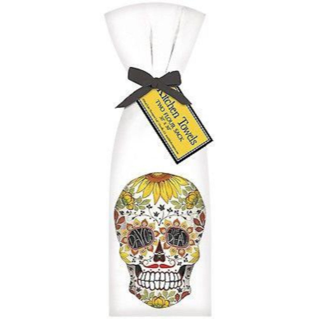 2 Ribbon Tied Day Of The Dead Flour Sack Towels