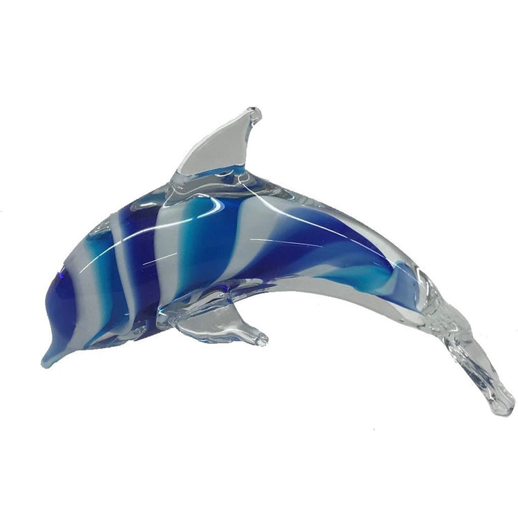 Multi Blue White Swirl Glass Dolphin Home Decor