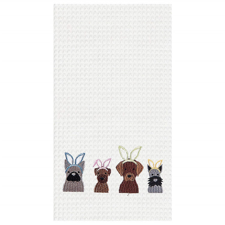 White waffle weave towel embroidered with dogs wearing bunny ears.