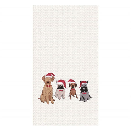 White waffle weave towel embroidered with dogs in Santa hats.