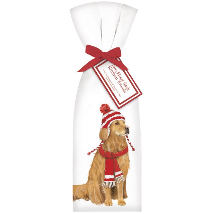 2 Holiday Golden Retriever Dog With Hat Towel Set Ribbon Tied Flour Sack Towels