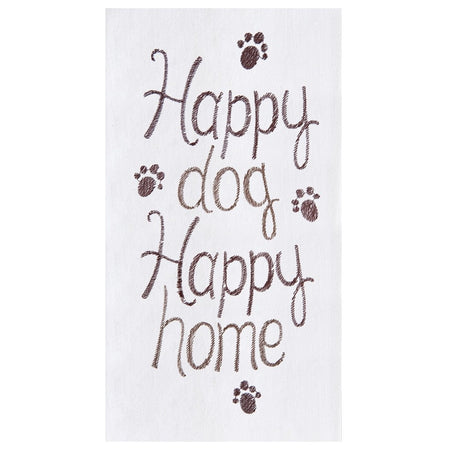 "White towel with brown text ""Happy dog Happy home"". Brown paw print on top, bottom and sides."