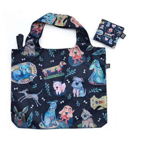 Navy bag with different dogs all over it