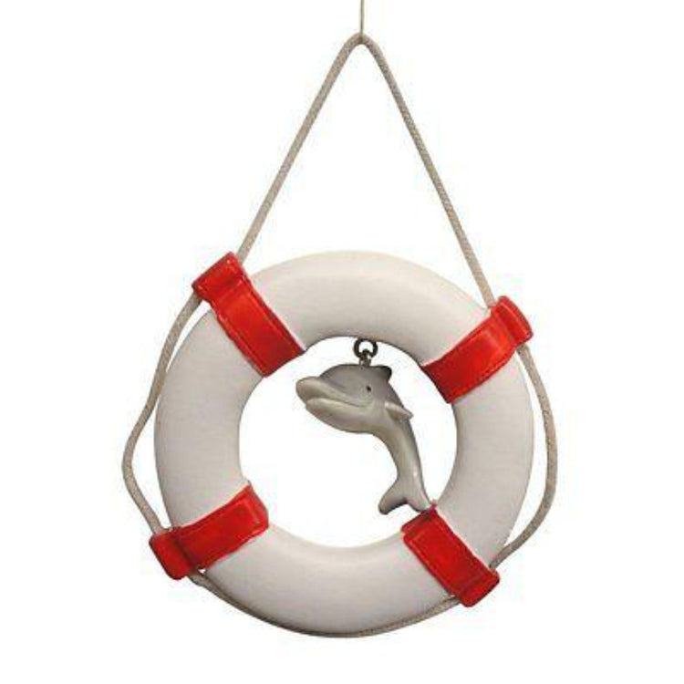 White and red life ring and a dangling grey dolphin in the center.