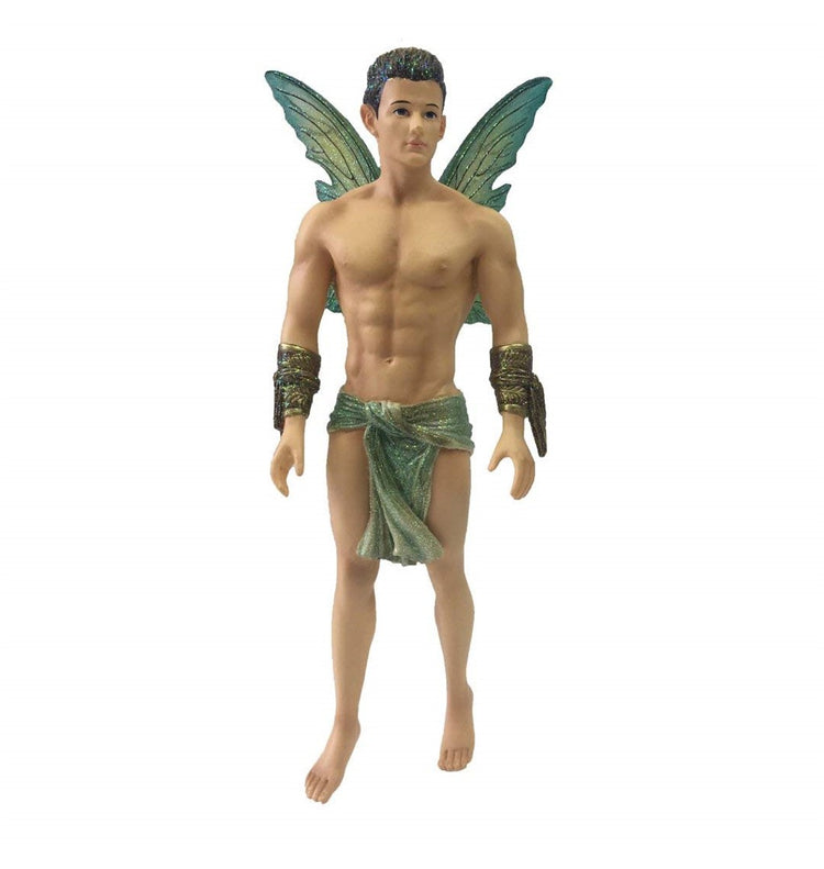 Fairy figurine shaped hanging ornament.  He is standing on tip toes elaborate arm bands on both arms, teal colored scarf around his waist.