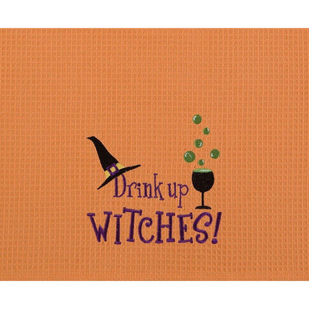 Drink Up Witches Embroidered Waffle Weave Dishtowel