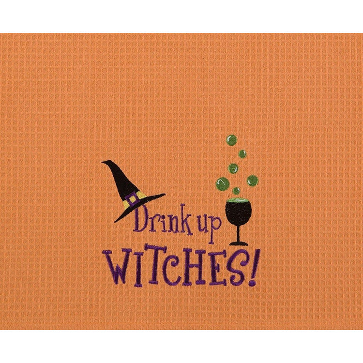"Orange waffle weave kitchen towel ""Drink up WITCHES!"" bubbling drink and witches hat."