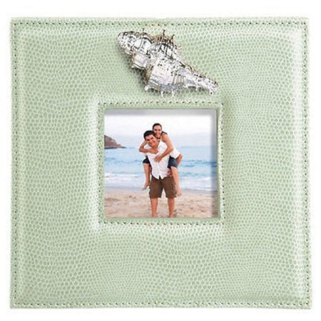 Sea Breeze Photo Frame With Sculpted Metal Conch Shell on Faux Sea Green Leather