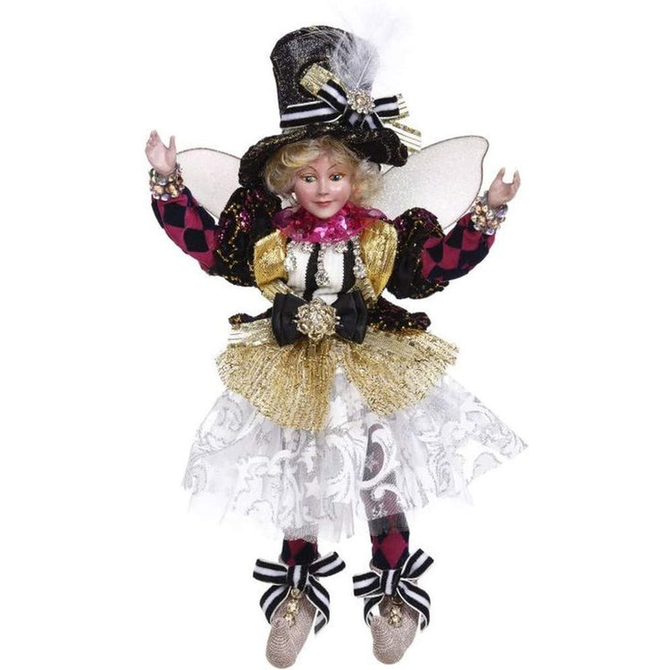 Lady fairy with purple & black harlequin patterned leggings & sleeves, white & gold skirt & black top hat