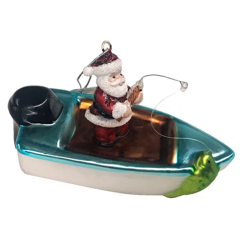 Blown Glass Santa Fishing In a Power Boat Hanging Ornament