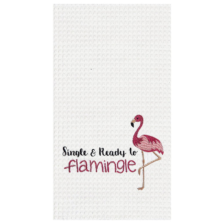 "White towel, with Flamingo standing on the right bottom. Text on left ""Single & Ready to Flamingle"""