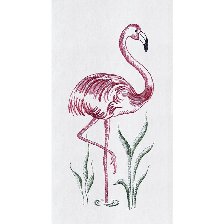 White flour sack kitchen towel embroidered with a pink flamingo.