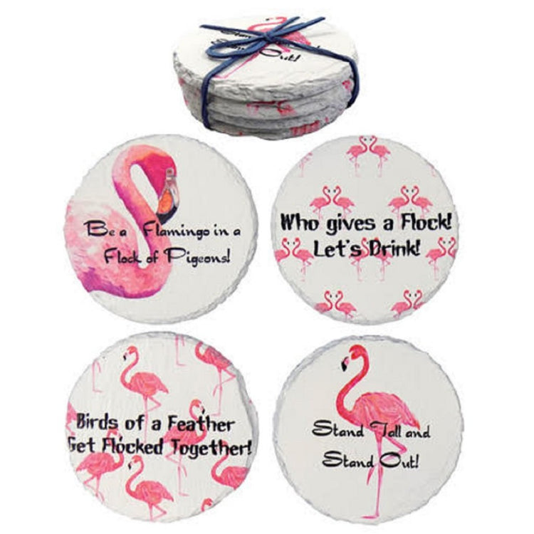4 round stone coasters tied with a blue ribbon. The coasters are white with pink flamingo designs & black lettered sayings.