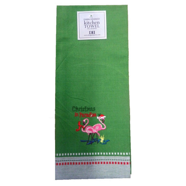 "Green dishtowel with embroidered text ""Christmas in Paradise"" and 2 pink flamingos wearing Santa hats."