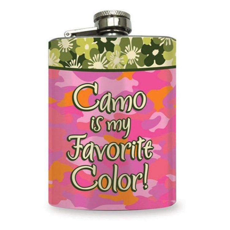 Pink camo colored flask with green floral top band.