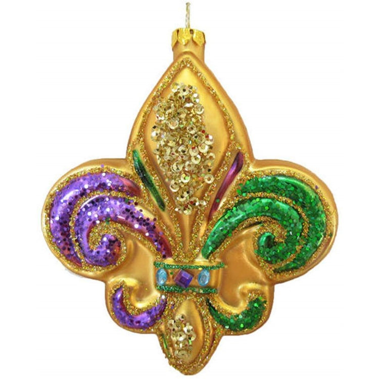 Gold Fleur De Lis shaped blown glass ornament with beads. Green swirl is painted on right side & purple swirl painted on left