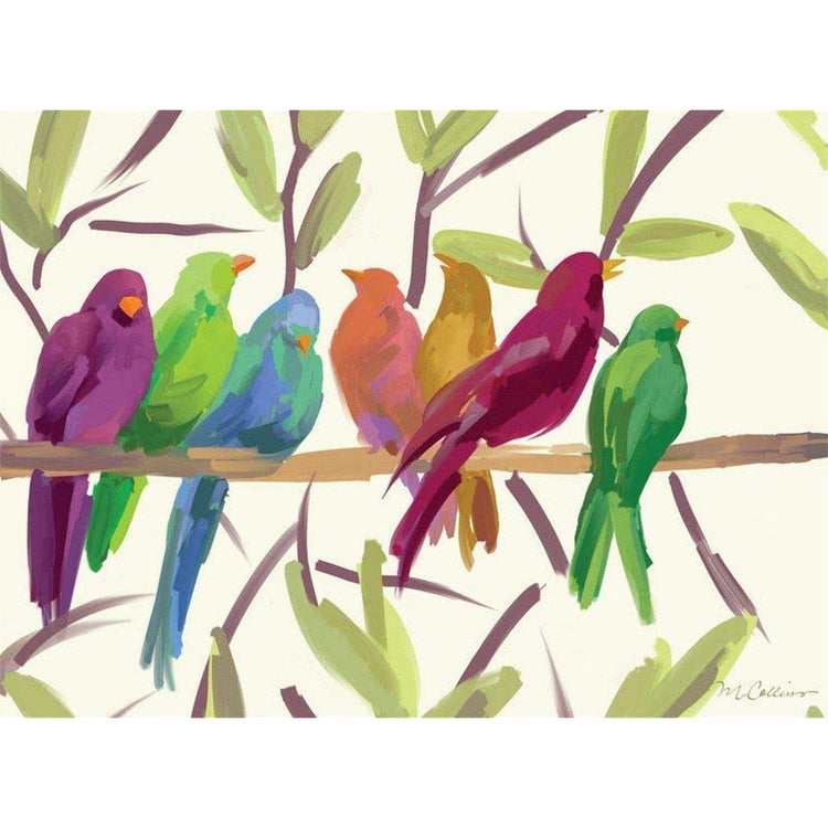 White placemat with birds on a branch. The birds are green, yellow, blue, purple and pink.