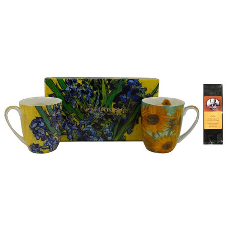 2 mugs with a gift box & a black package of tea. 1 mug shows Van Gogh Sunflowers, the other mug & box show Irises.