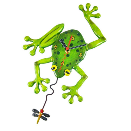 Frog Fly Clock With Swinging Pendulum