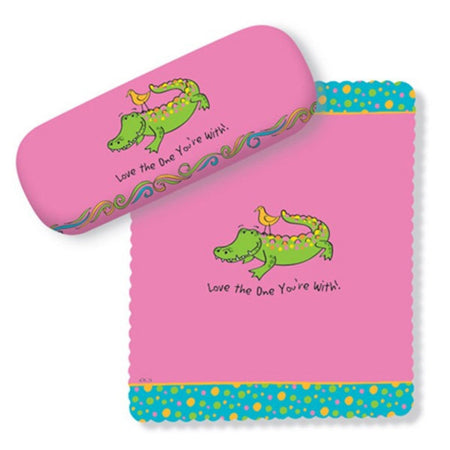 Pink Gator Design Glasses Case & Lens Cloth, Love the One You're With