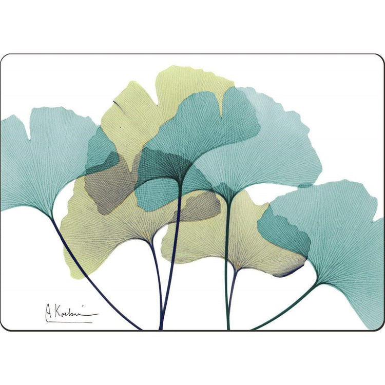 White placemat showing 6 green and blue fanned out ginko leaves.