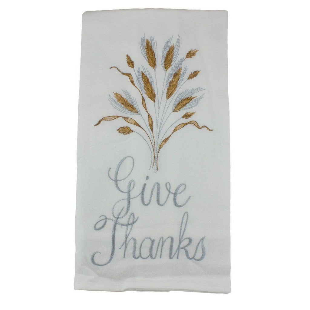 Give Thanks Embroidered Flour Sack Kitchen Dishtowel
