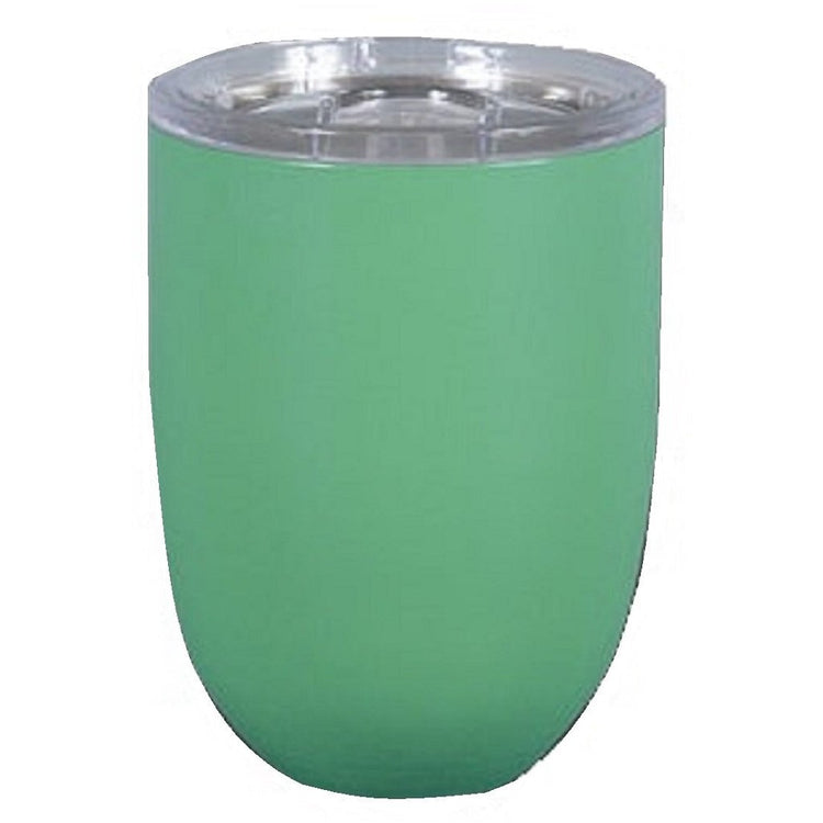 Stemless wine glass with clear top.  Glow in the dark green color.