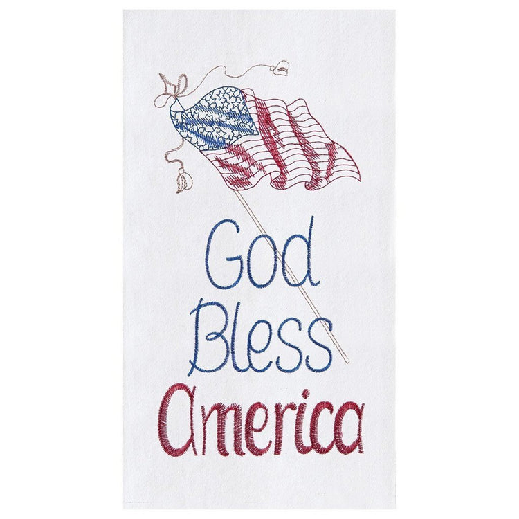 "White towel. American flag angled right to left. Blue text ""God Bless"" Red text ""America"" Flag outlined in gold, blue & red."