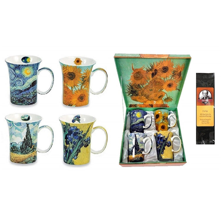 4 mugs, a gift box & a black package of tea bags. The box and the mugs all show artwork from Van Gogh.