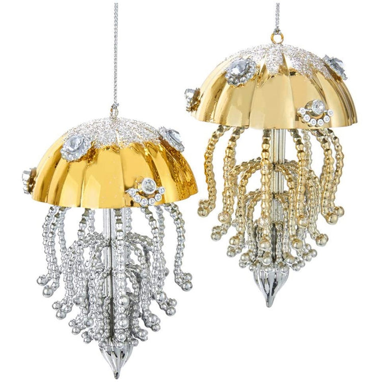 2 hanging jellyfish ornaments. Both have gold body. Legs on 1st are silver, gold on 2nd. Rhinestone accents on entirety.
