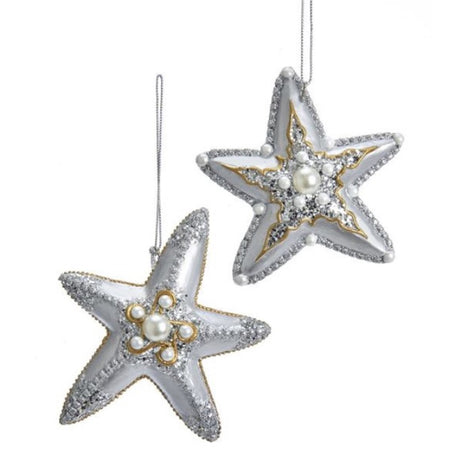 2 coordinating silver and gold starfish figurine ornaments on silver cord.  Embellished with glitter and beads.