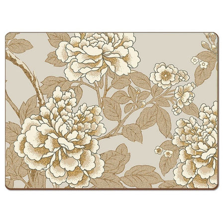 Light colored placemat with gold and white colored peony flowers and branches.