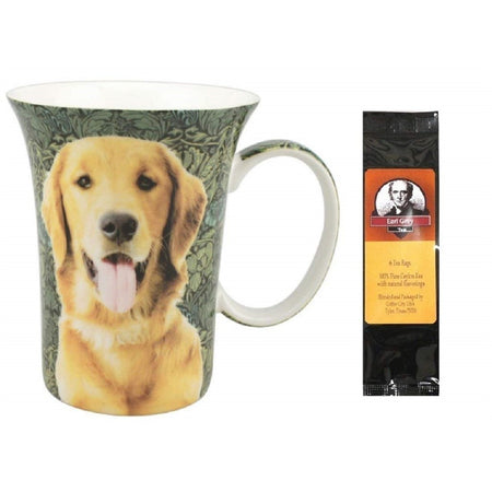 "Coffee mug with loop handle. Tea pack, Text ""Earl Grey Tea"". Cup has golden retriever with mouth open with green leaf pattern"