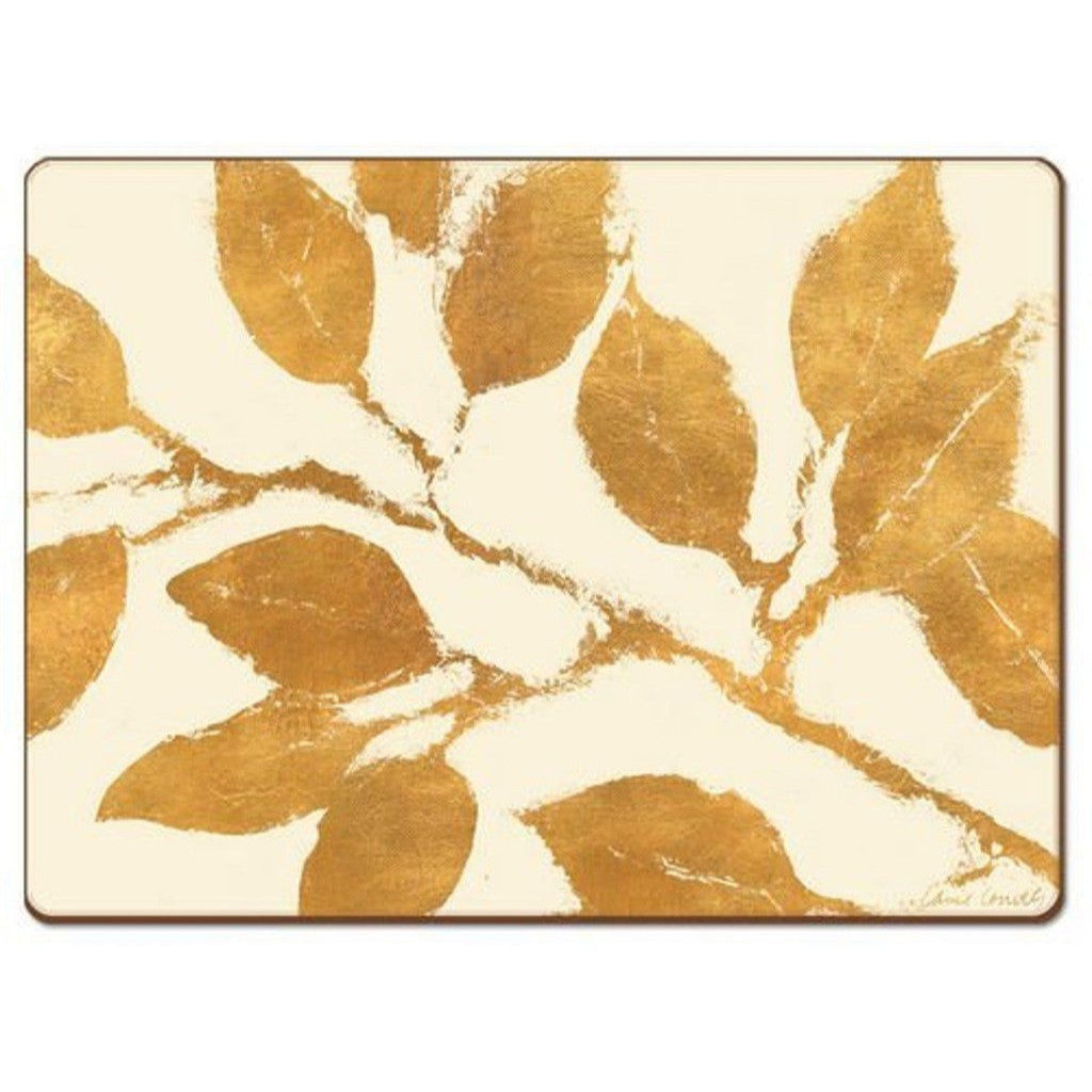 4 Cala Home Premium Hardboard Placemats Table Mats, Golden Leaves
