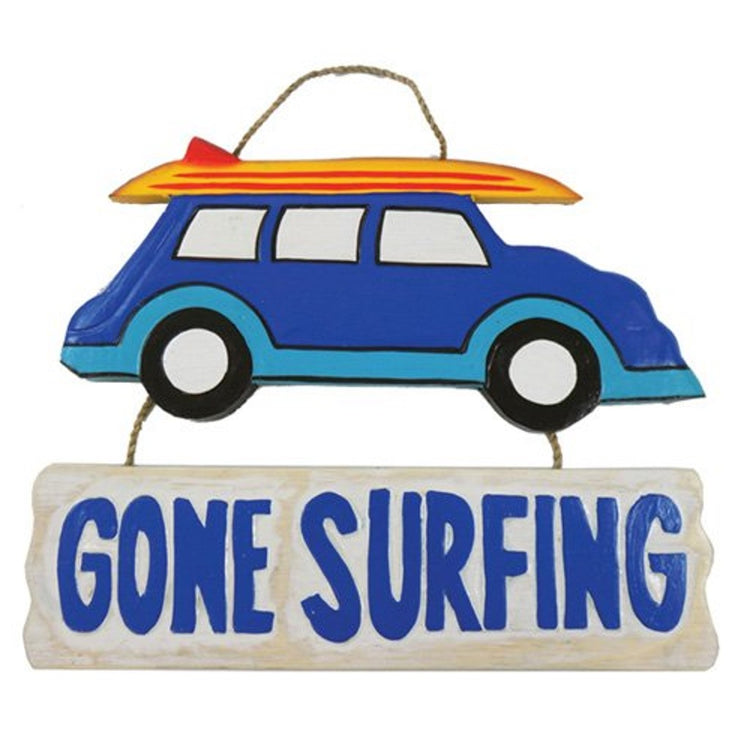 "Painted wood car with surfboard on roof. 2nd wood piece hangs under car with text ""Gone Surfing"""