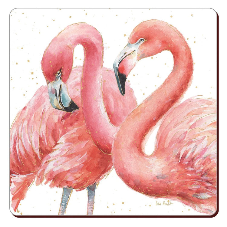 Cork backed coaster showing 2 pink flamingos on a white background.