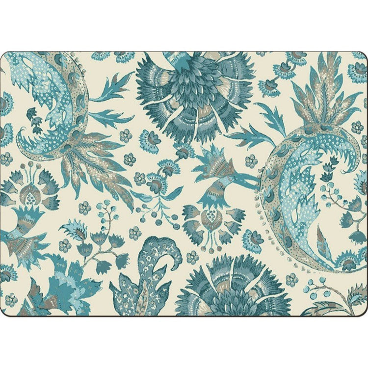 Cream colored placemat with gray, blue and teal flowery design