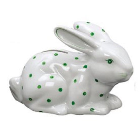 Green Polka Dot Bunny Design Coin Bank 5.5 inches x 3.75 Inches