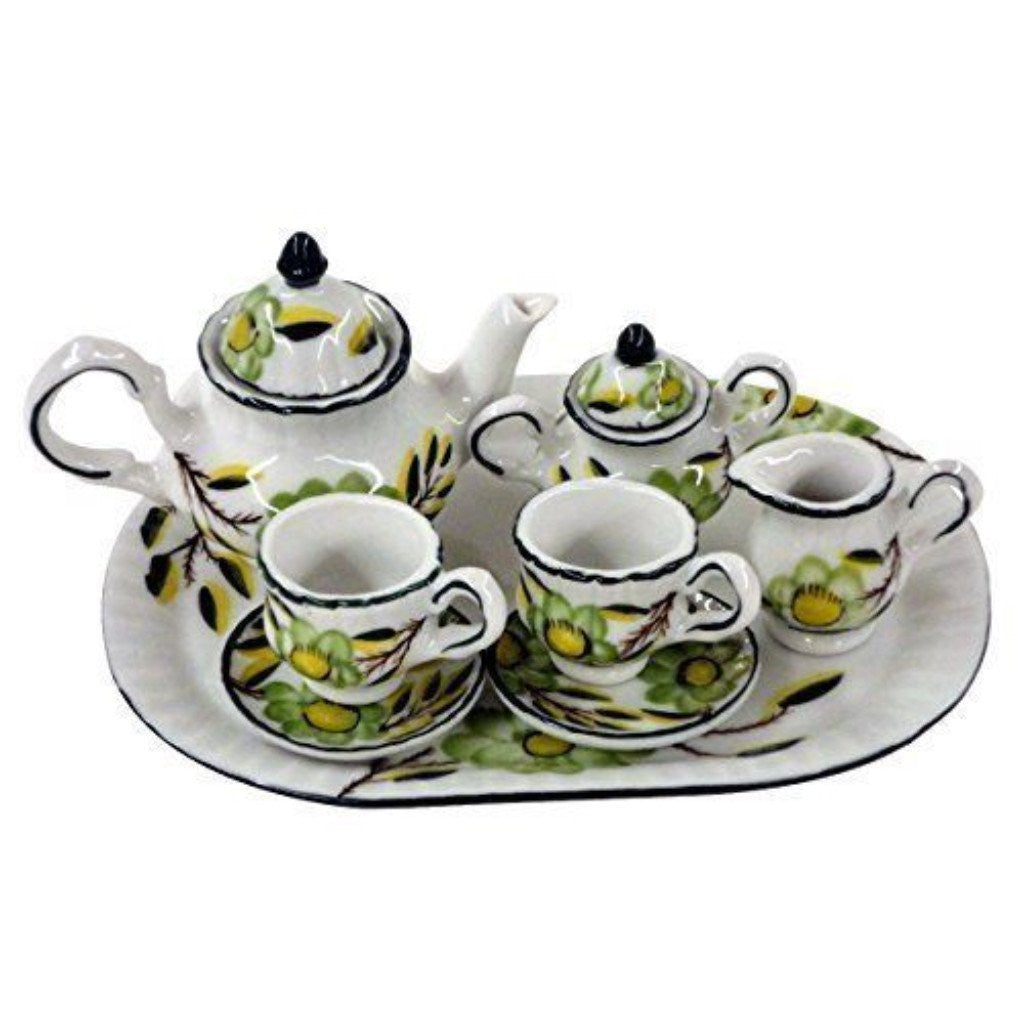 Children's 10 Piece Doll Size Tea Set for 2, Green Floral