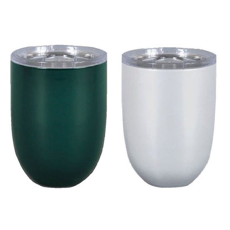 2 Stemless wine glasses with clear top.   Hunter green and pearl.