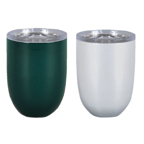 Magnolia Lane Stainless Steel Stemless Wine Cup, 10 oz Dark Green & Pearl