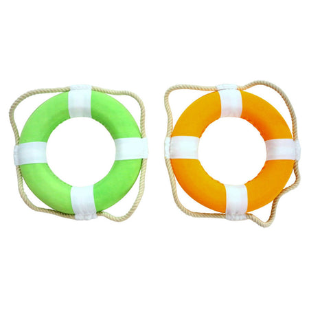 2 Cloth Life Ring decoration 8 Inch Diameter 1 Orange and 1 Green