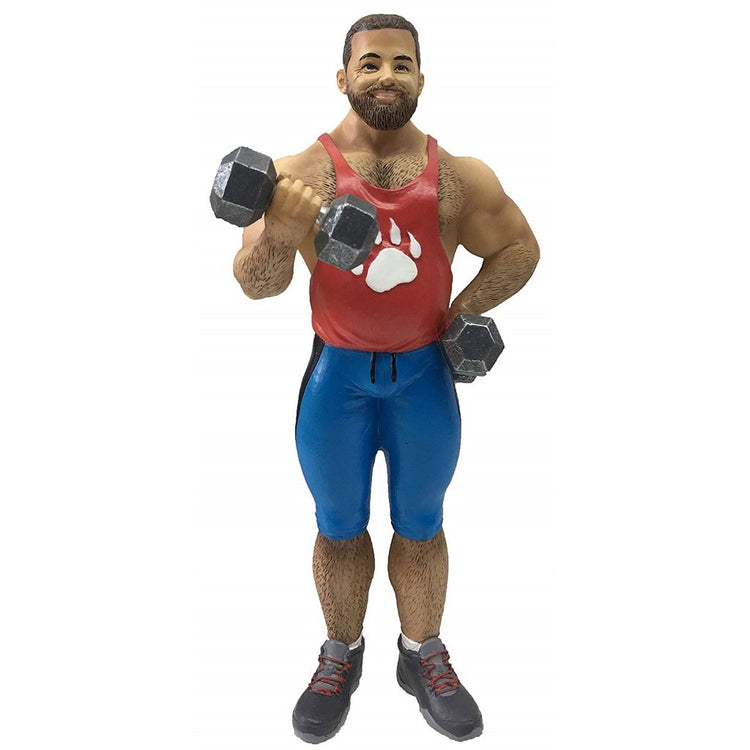 Man dressed in workout gear figuring ornament.  Holding 2 dumbells.