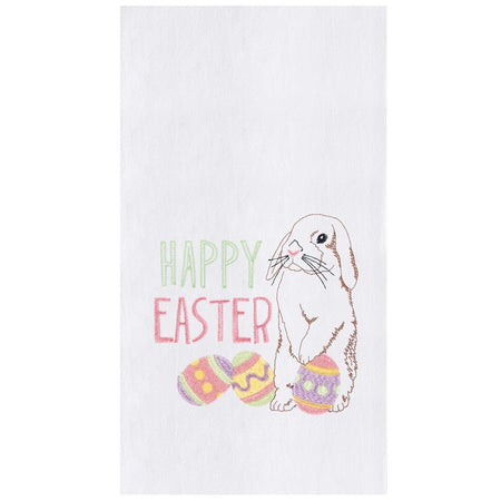 "White towel with text ""Happy Easter"" with rabbit ears down standing by 3 colored Easter eggs"